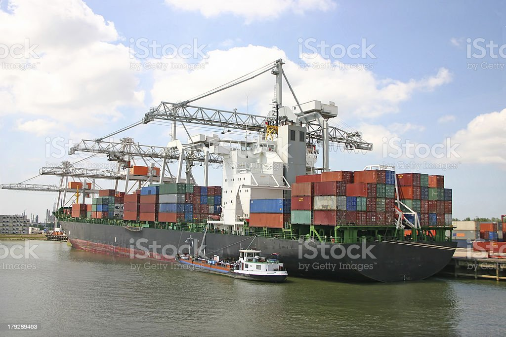 Cargo ship (Rotterdam, The Netherlands) stock photo