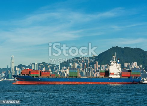 Container ship in Victoria Harbor of Hong Kong