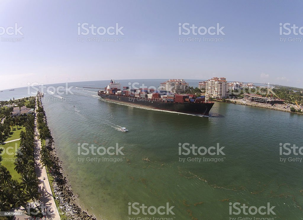 Cargo ship seen from above stock photo