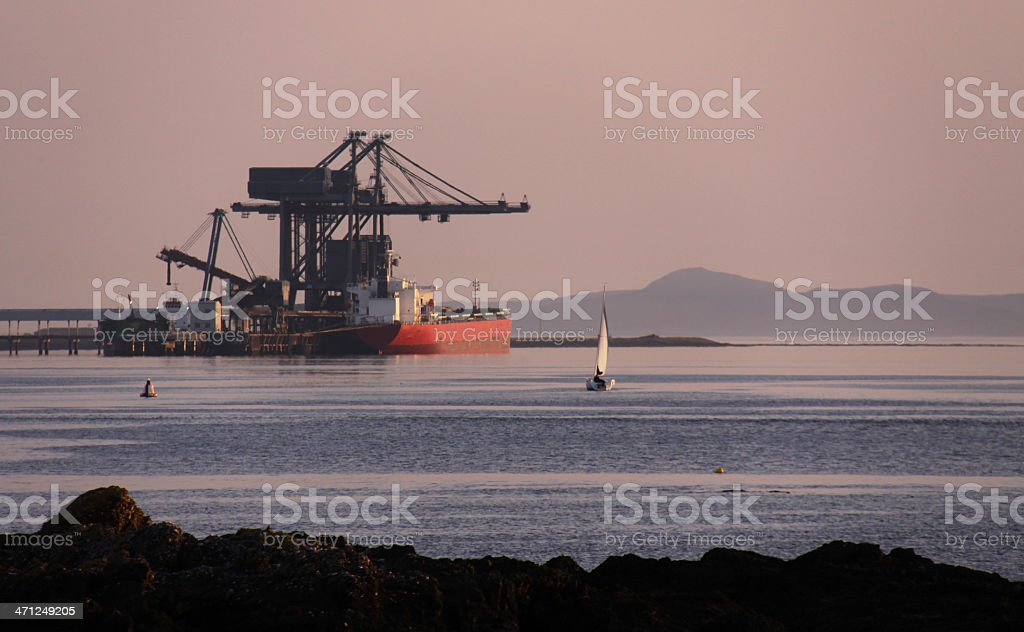 Cargo ship, shipping equipment, Largs docks, Firth of Clyde, Scotland royalty-free stock photo