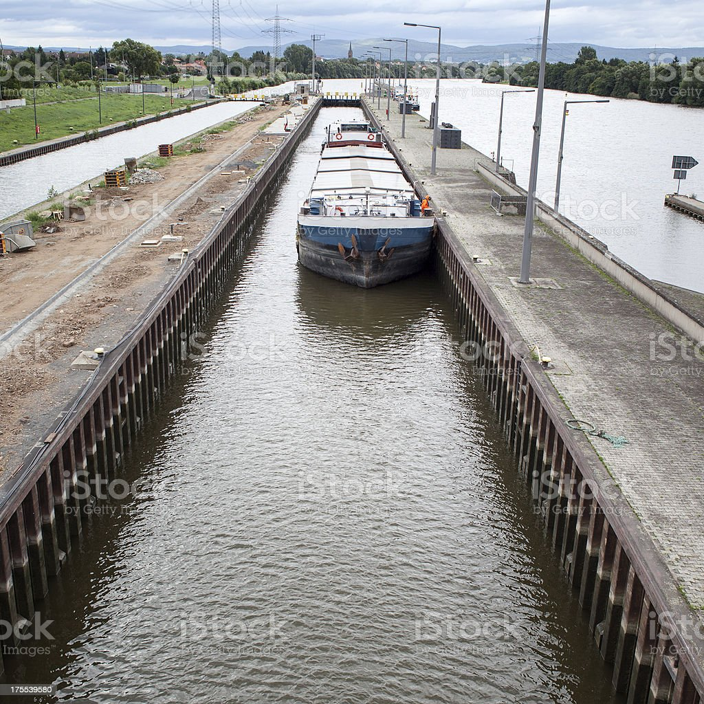 Cargo ship, sluice royalty-free stock photo