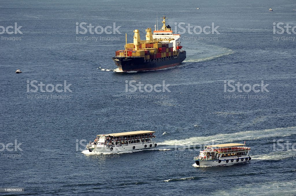 Cargo ship, Turkey-Istanbul-Bosphorus royalty-free stock photo