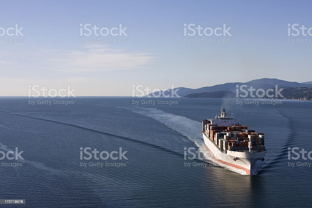 Cargo Ship Wide Angle View royalty-free stock photo
