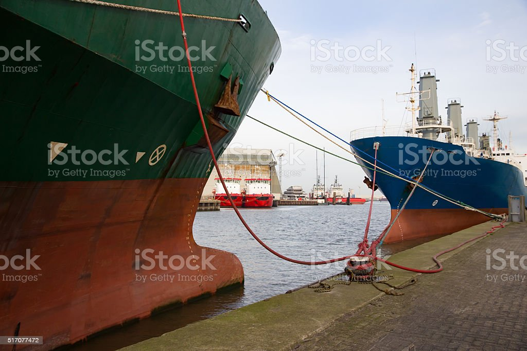 Cargo shipa moored stock photo