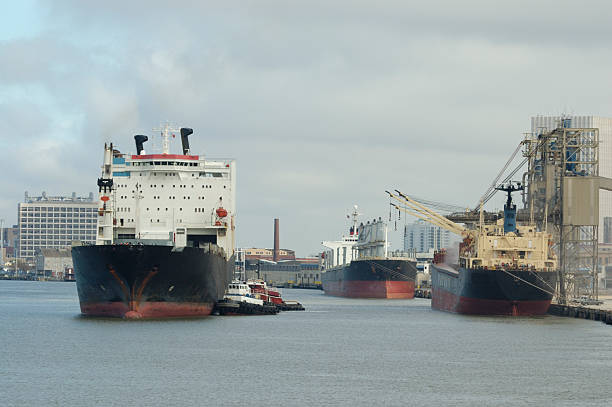Cargo ships and tugboats at harbor. Industrial port.