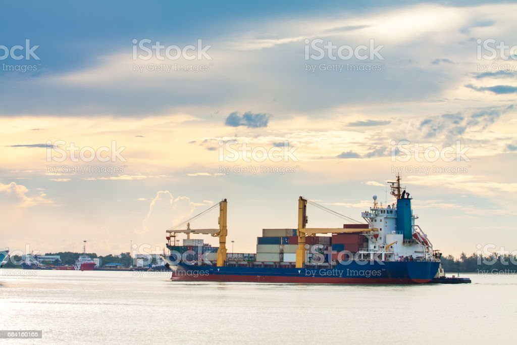 Cargo ships are departing royalty-free stock photo