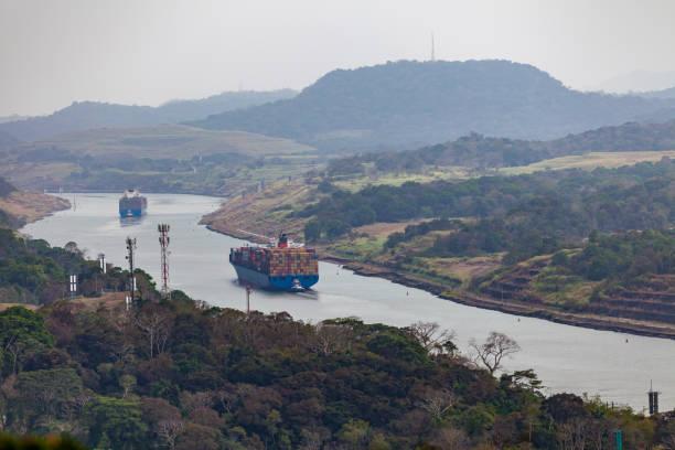 cargo ships at the panama canal, panama, latin america stock photo