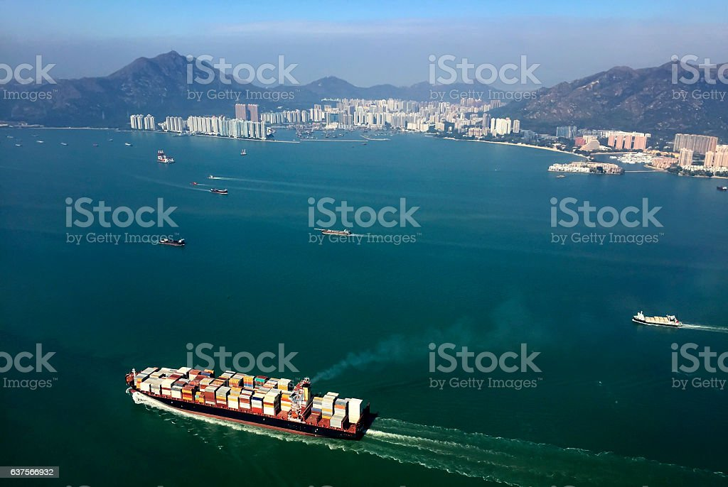 Cargo ships entering one of busiest ports in the world stock photo