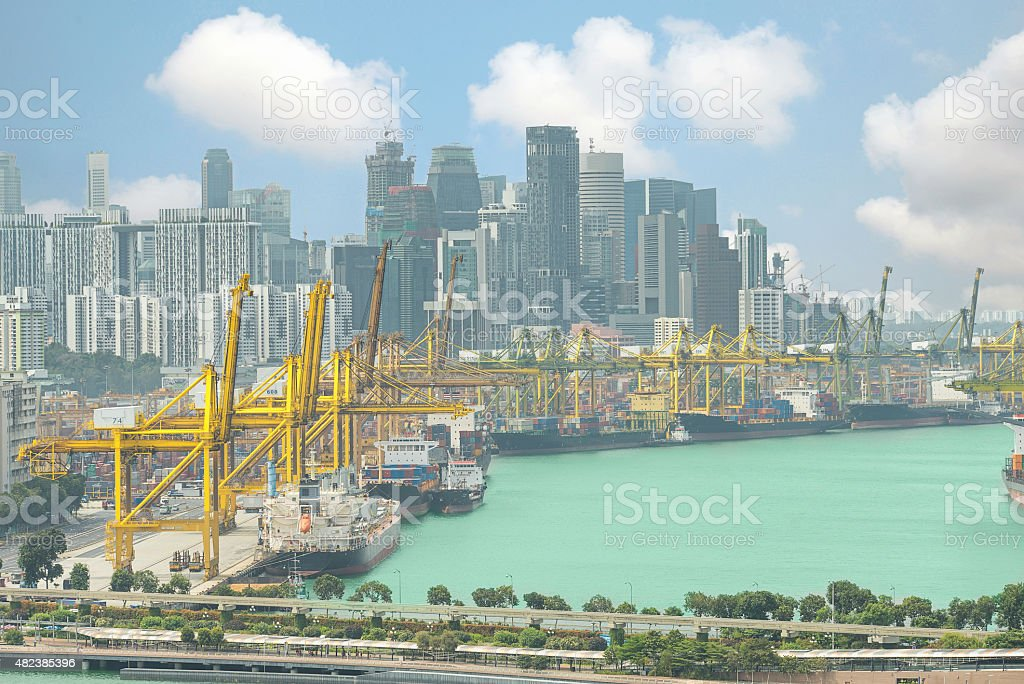 Cargo ships entering one of the busiest ports in Singapore stock photo