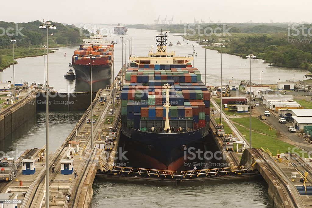 Cargo Ships Entering Panama Canal royalty-free stock photo
