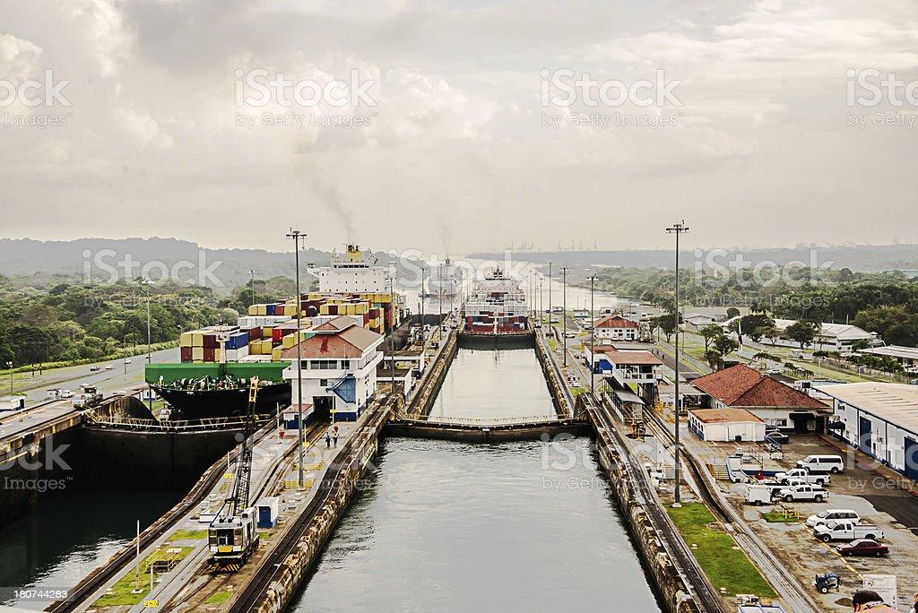 Cargo Ships going through the Gutan Locks Panama Canal stock photo