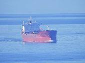 Tanker moored off Vancouver port