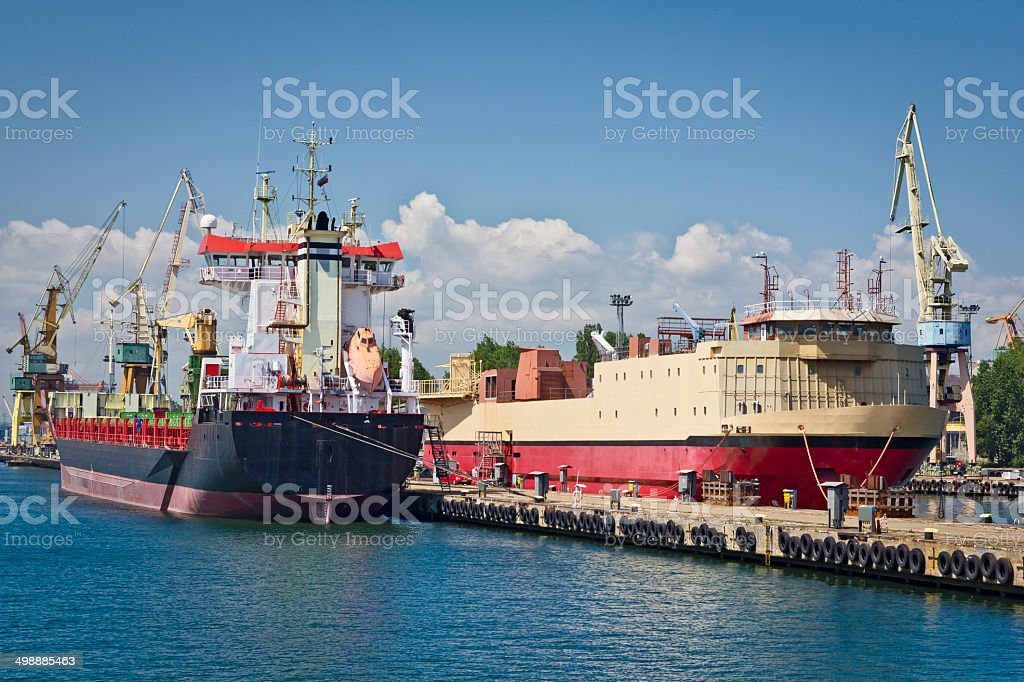 Cargo ships in the harbor royalty-free stock photo