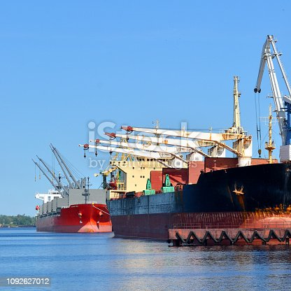 Cargo ships in the port on a sunny day