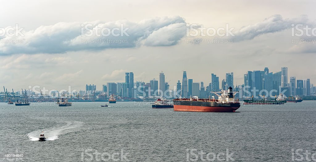 Cargo ships waiting in Singapore Harbour stock photo