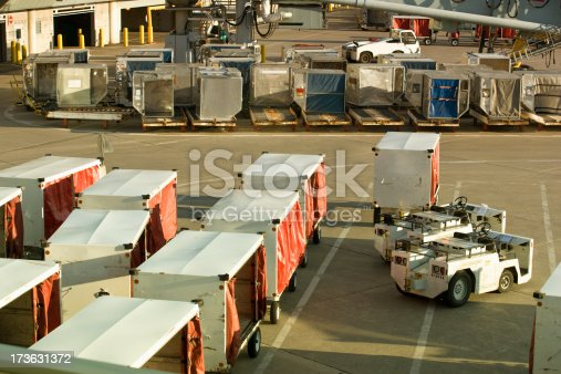 Luggage at an airport await takeoff