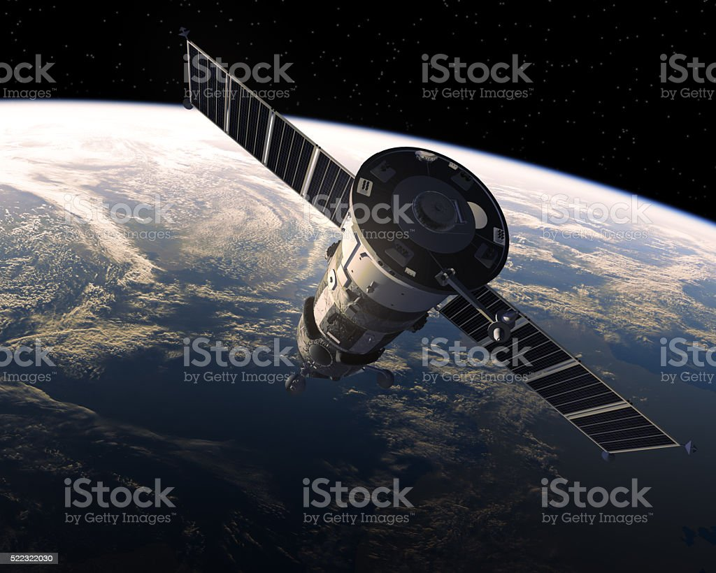 Cargo Spacecraft In Space stock photo