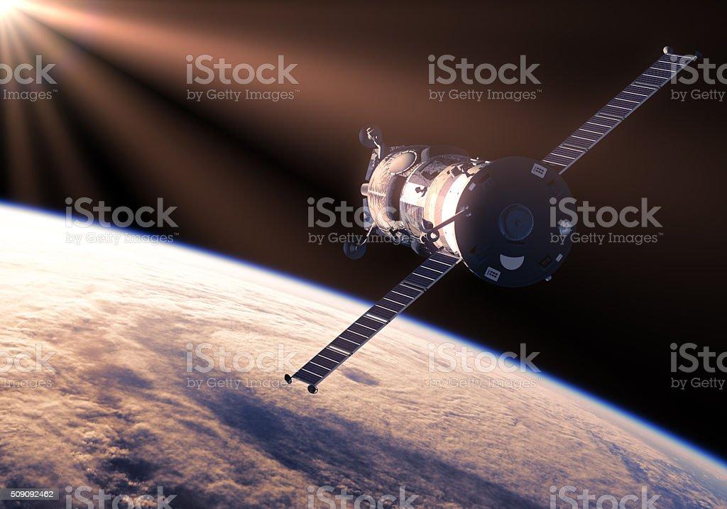 Cargo Spacecraft In The Rays Of Sun stock photo