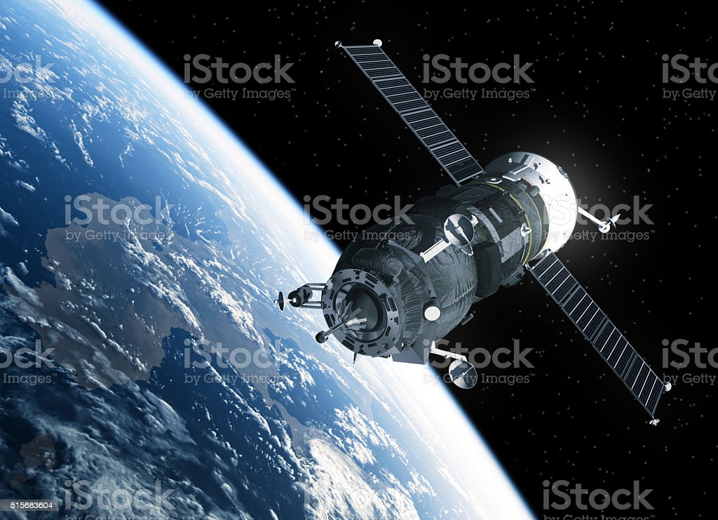 Cargo Spacecraft Orbiting Earth stock photo