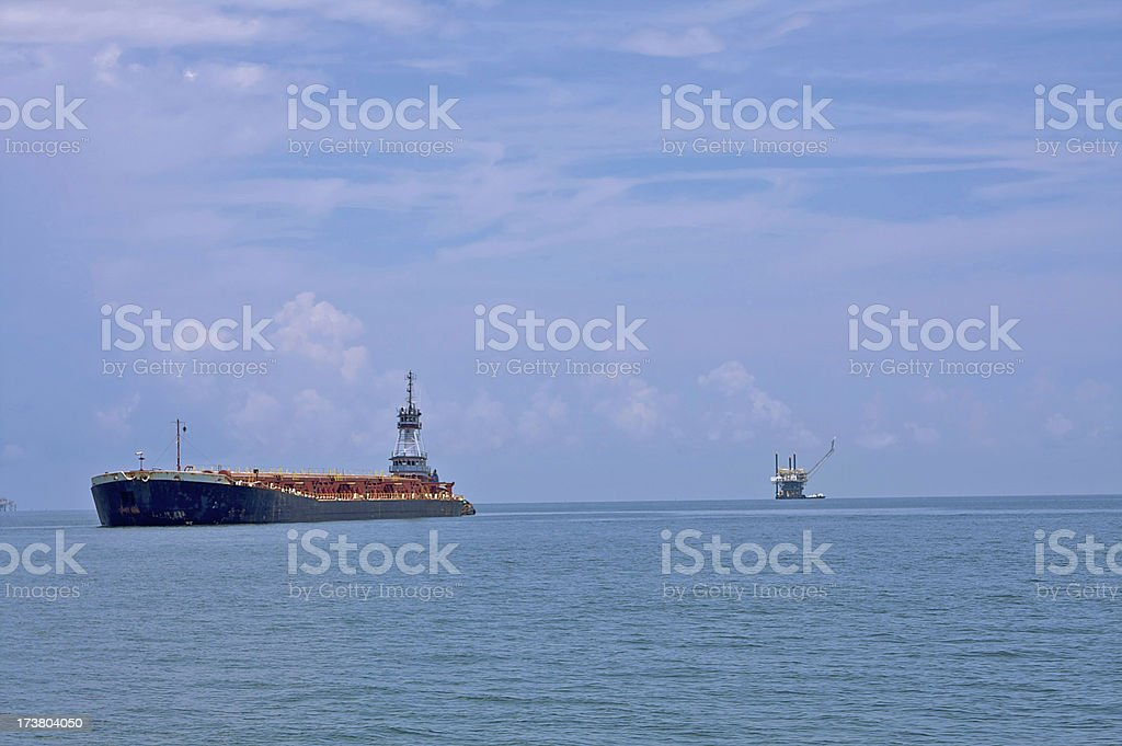Cargo Tanker and Natural Gas Platform royalty-free stock photo