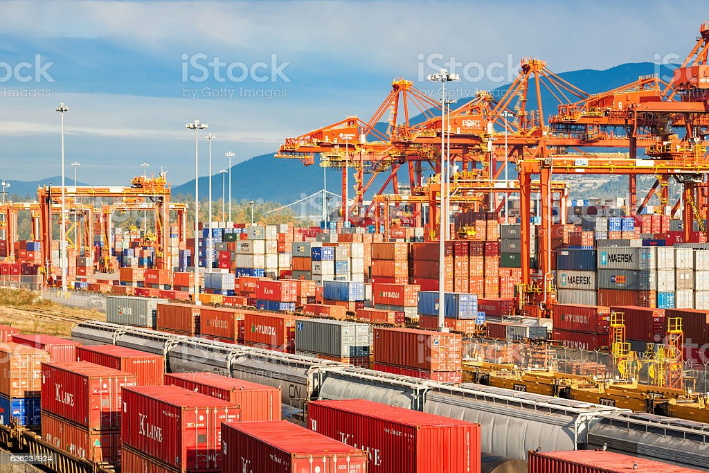 Cargo Terminal at Port of Vancouver British Columbia Canada stock photo