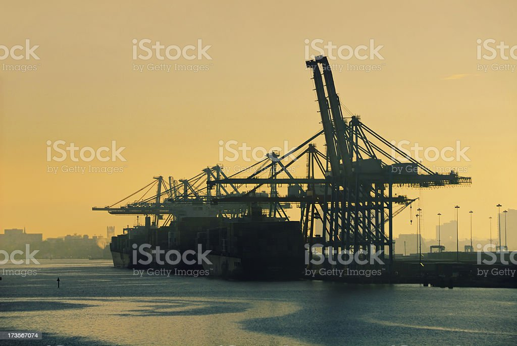 Cargo Terminal Sunrise royalty-free stock photo