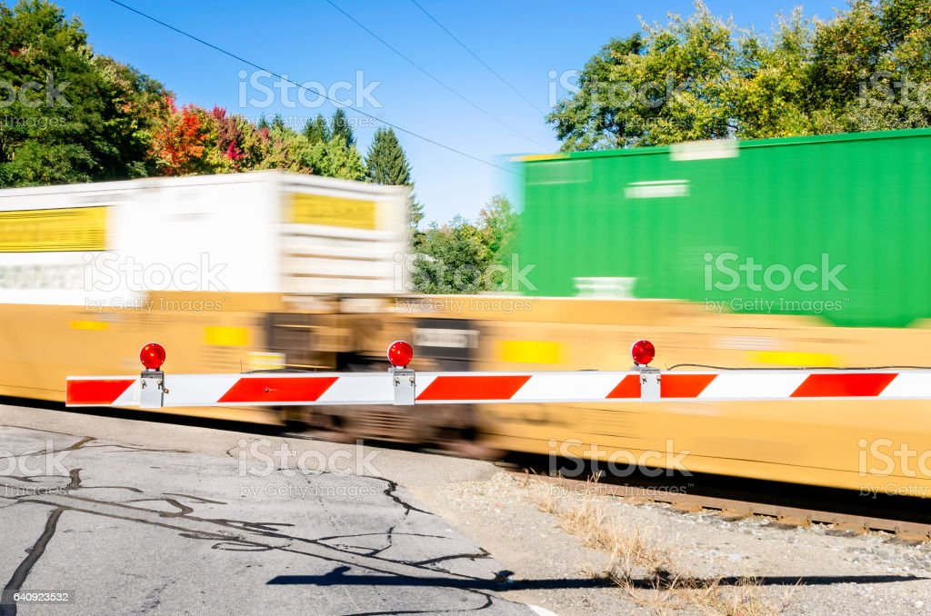 Cargo Train in Motion on a Sunny Day stock photo