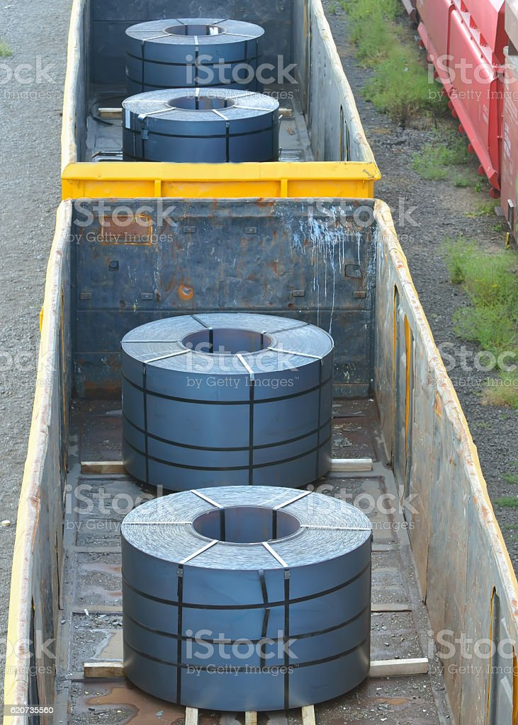 Cargo train platform with role steel stock photo