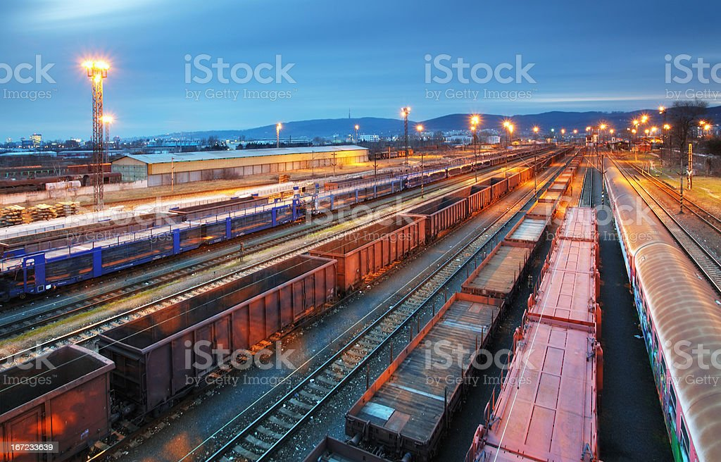 Cargo train trasportation - Freight railway stock photo