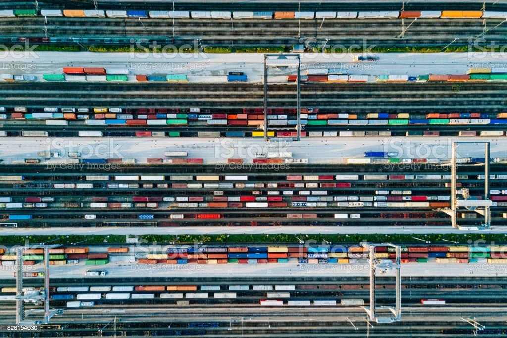 Cargo Trains and Containers at a Terminal stock photo