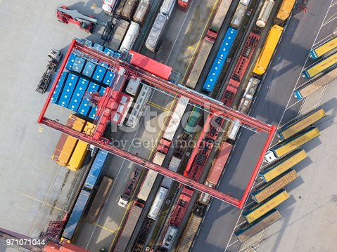 istock Cargo trains, trucks and a huge crane at freight terminal, Austria 971071044