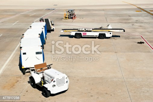 Tow truck with cargo trailers, conveyor belts and a mobile gasoline pump on runway waiting for the next airplane.
