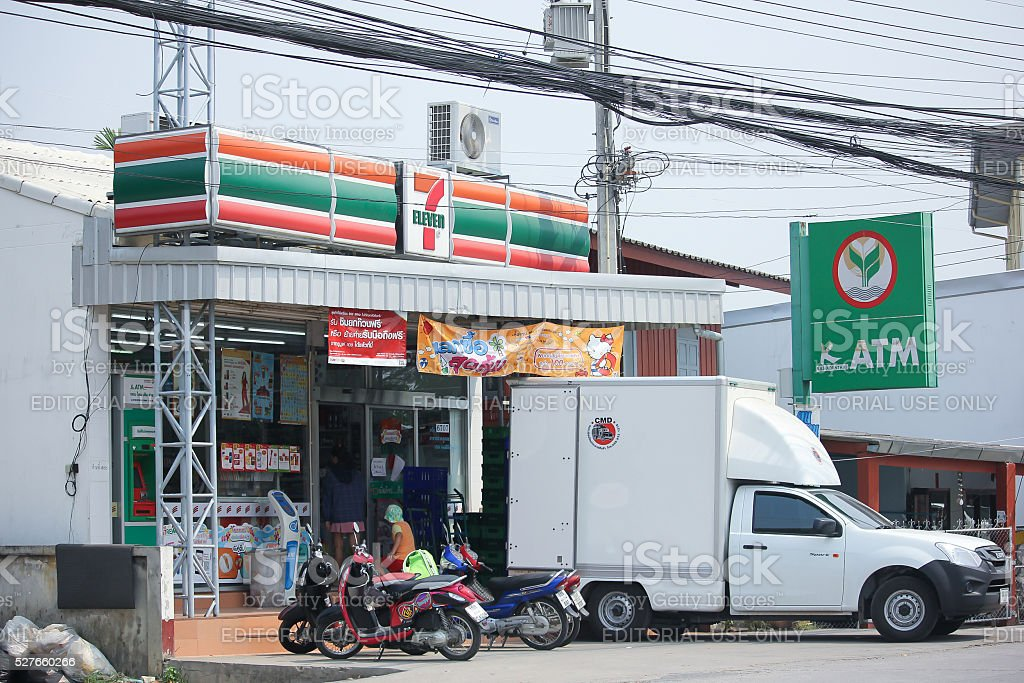 Cargo truck at 7-11 store. stock photo