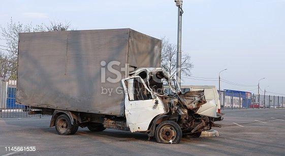 Cargo van broken in a road accident. Russia. Frontal collision