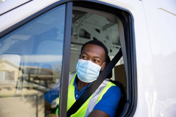 Cargo Van Delivery During Pandemic stock photo