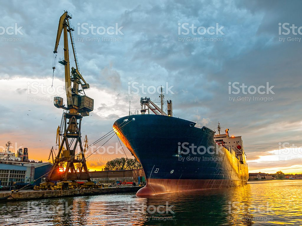 Cargo vessel stock photo