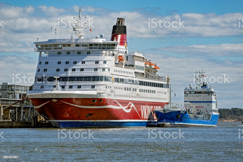 Cargo-passenger ferry by Viking line moored in South harbor at pier in Helsinki port. stock photo