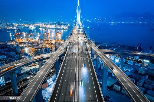 Cargor Port and Highway at night, Hong Kong