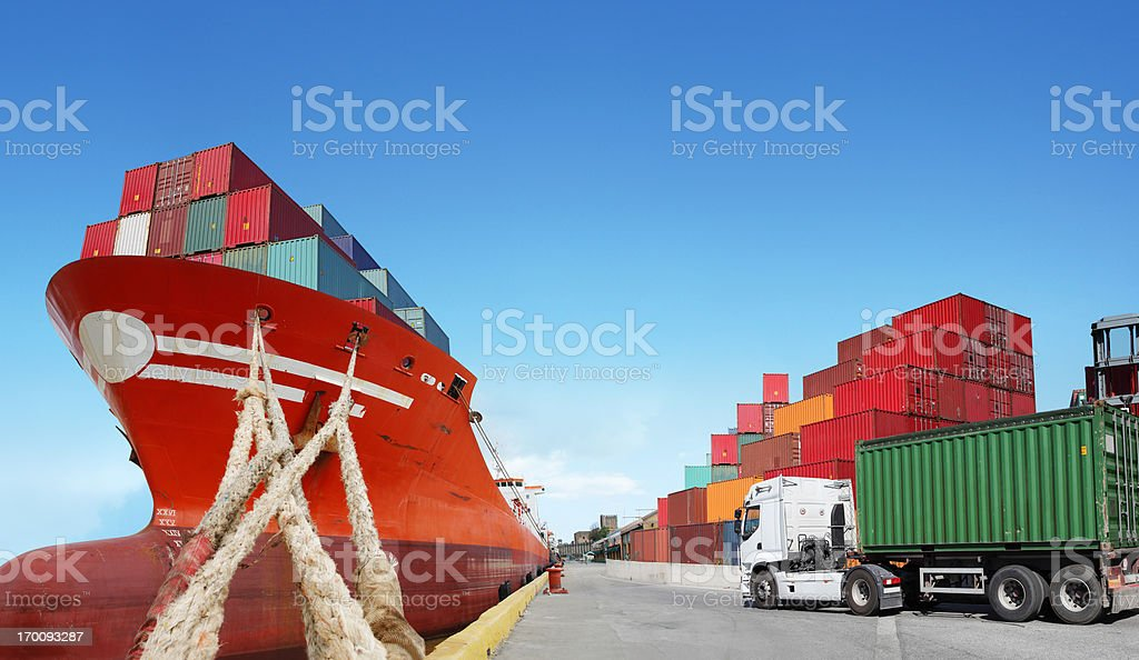 Cargoship and truck with cargo container royalty-free stock photo