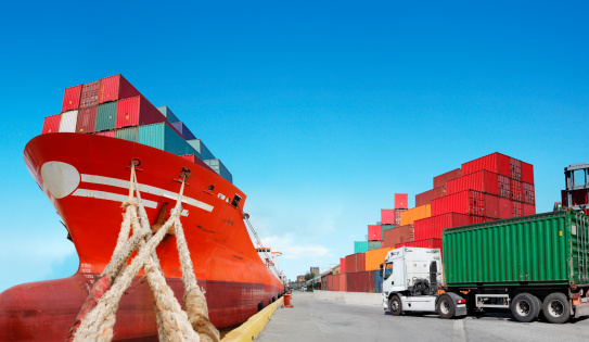 Cargo ship and truck with cargo container. See my other similar photos: :  http://www.oc-photo.net/FTP/icons/cargo.jpg