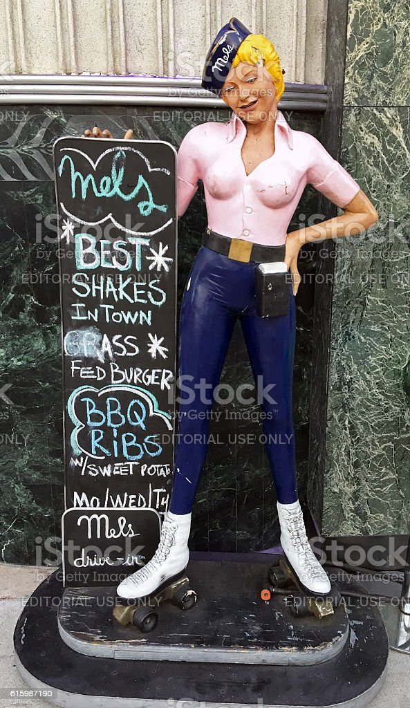 carhop statue in front of Mels Drive-In, Hollywood, California stock photo