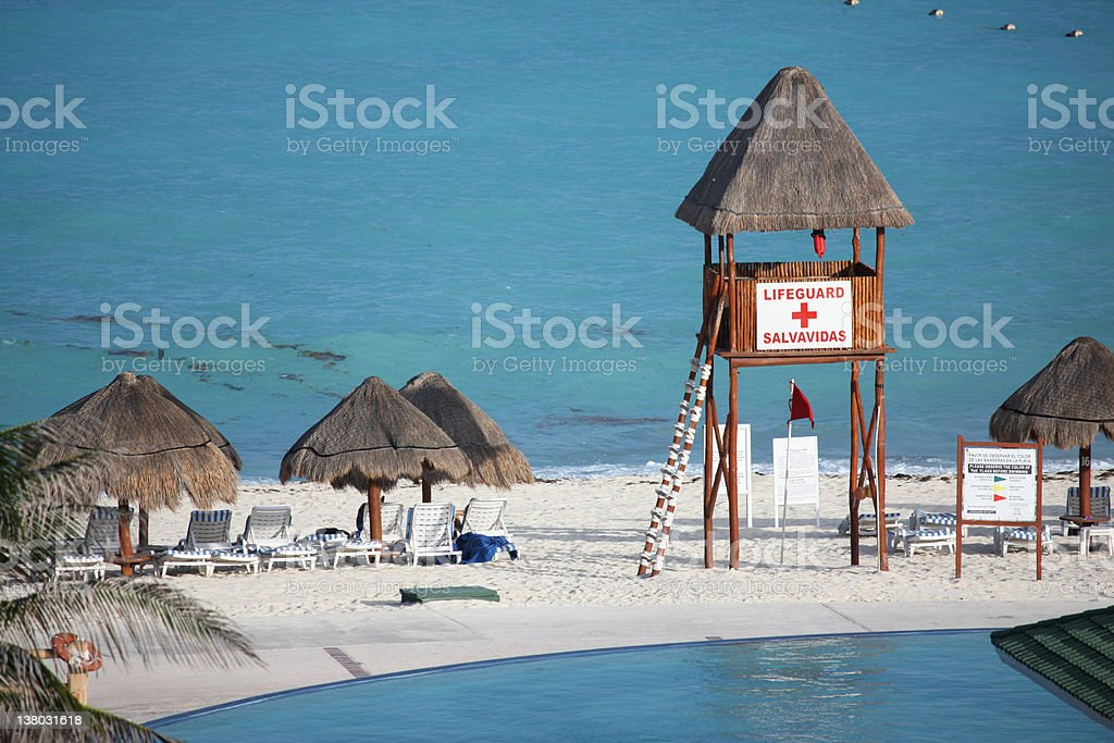Caribbean Beach and Lifeguard royalty-free stock photo