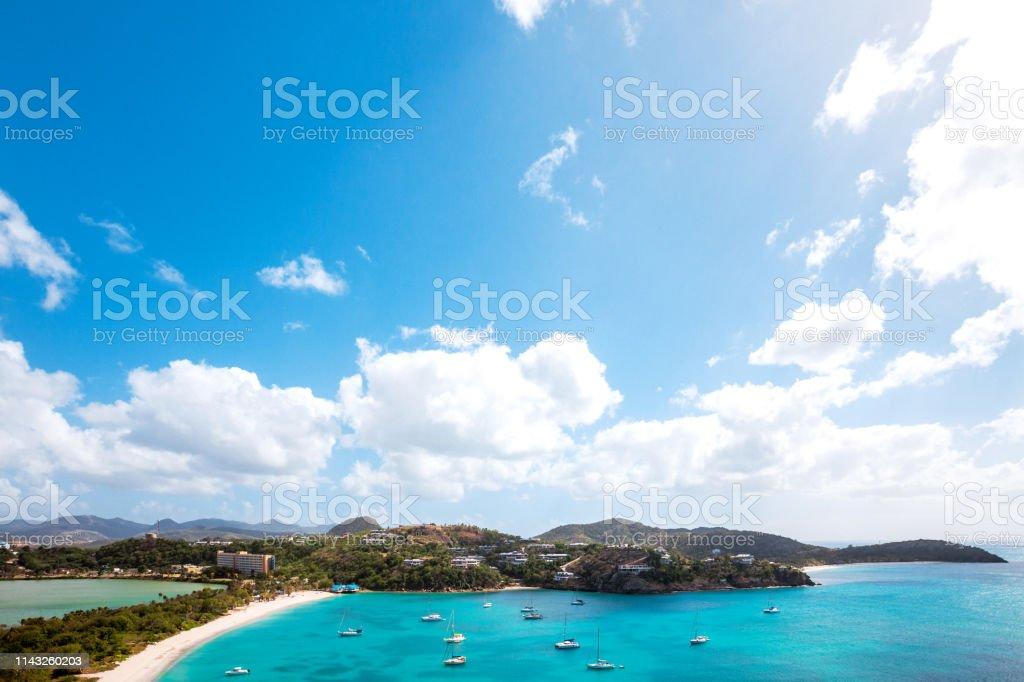 Caribbean beach - Deep Bay, Antigua & Barbuda stock photo
