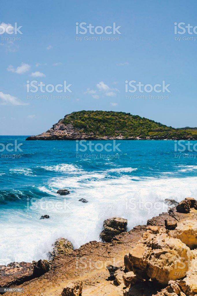 Karibik Strand.   Half Moon Bay, Antigua Barbuda &.   – Foto