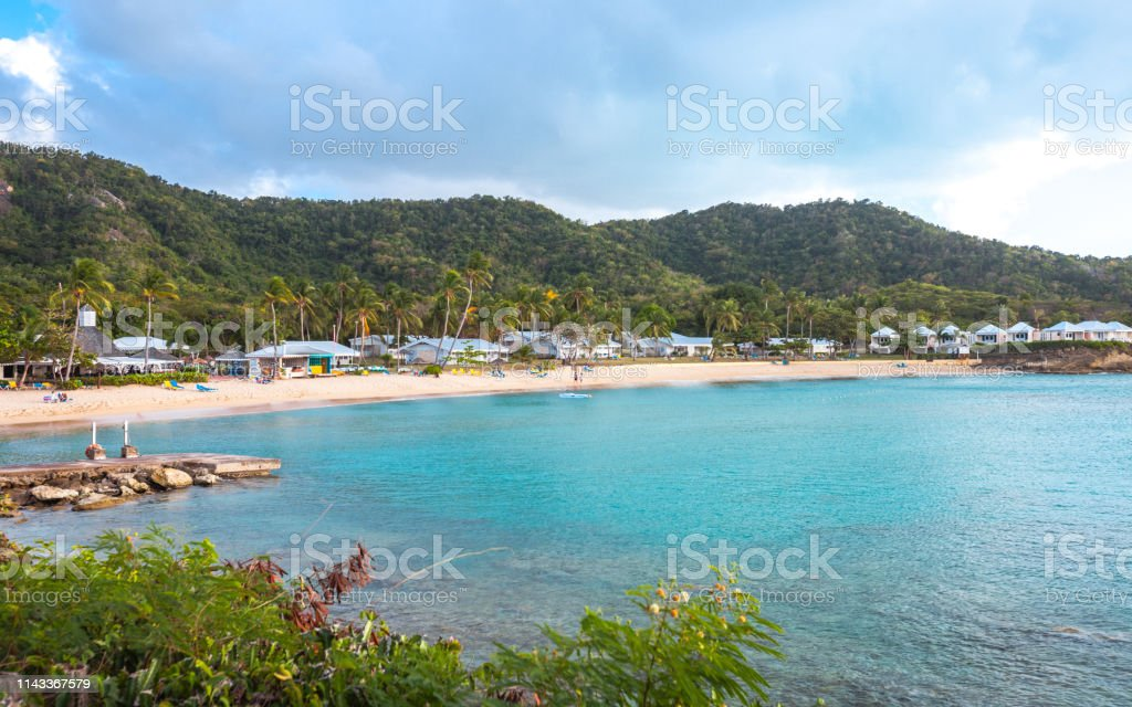 Caribbean beach - Hawksbill, Antigua & Barbuda stock photo