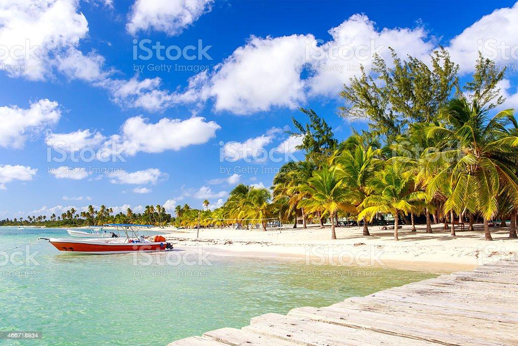 Caribbean beach in Dominican Republic stock photo