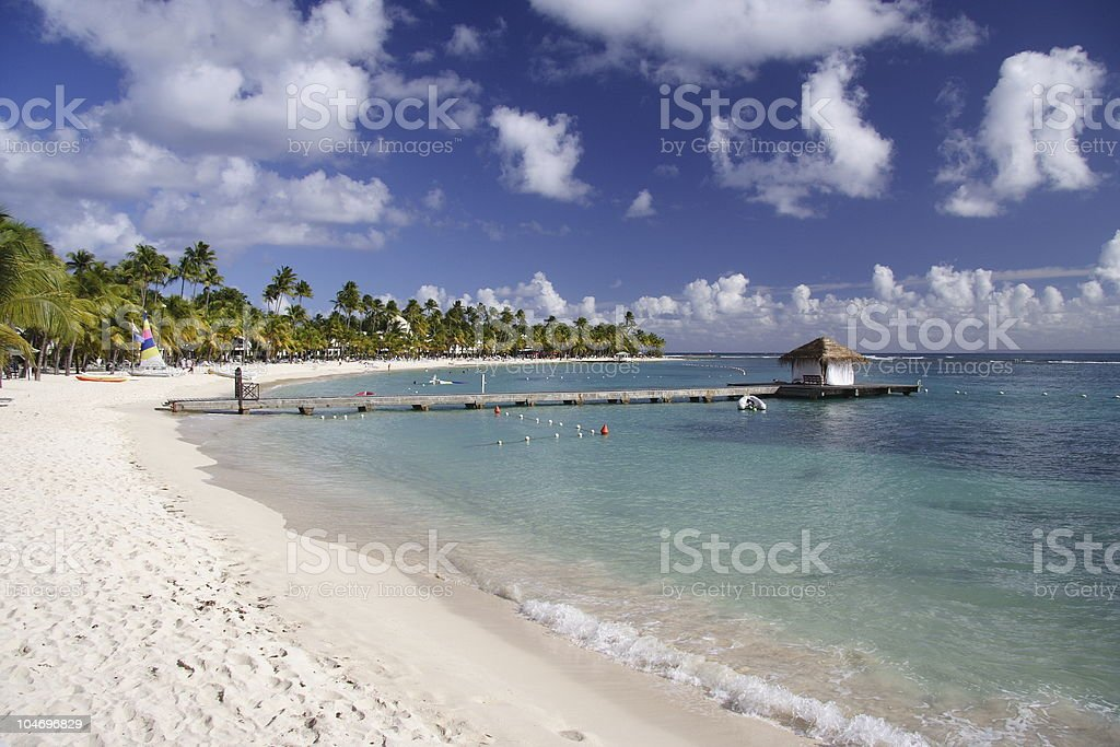 Caribbean beach landscape in summertime stock photo