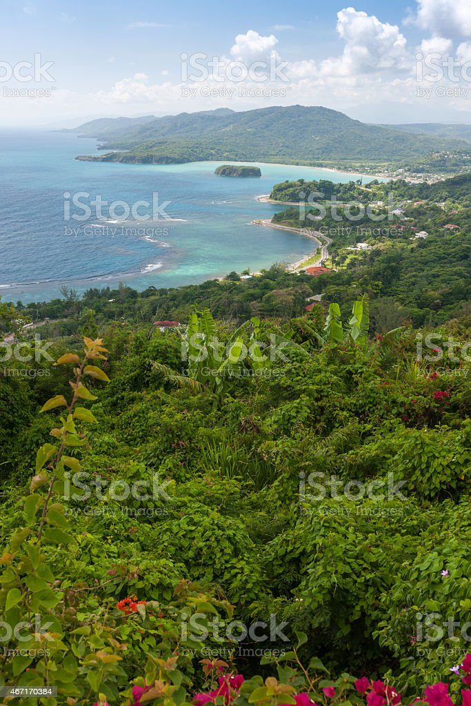 Caribbean beach on the northern coast of Jamaica, near Dunn stock photo