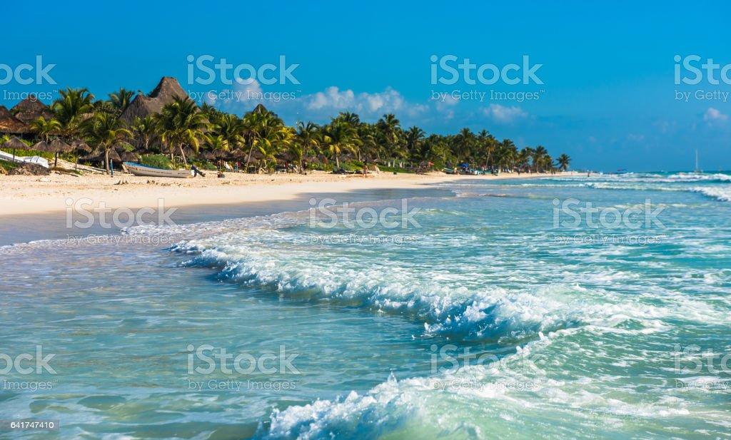 Caribbean beach panorama, Tulum, Mexico stock photo