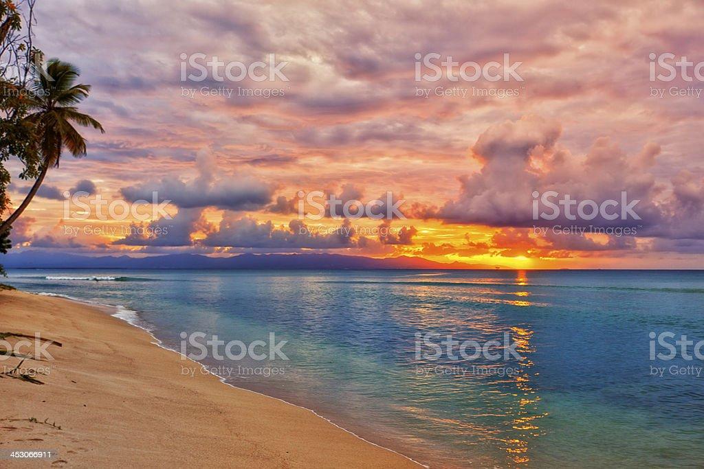 Caribbean beach sunset stock photo